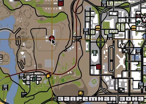 зона 69 в GTA San Andreas на карте